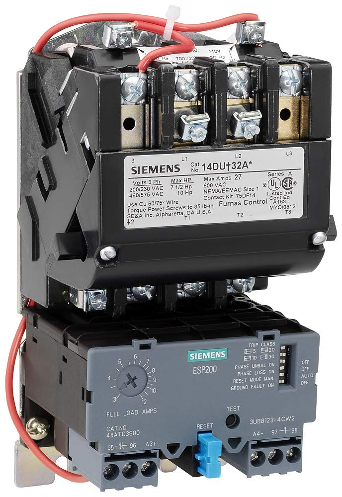Siemens 14DUE32AC Heavy Duty Motor Starter, Solid State Overload, Auto/Manual Reset, Open Type, Standard Width Enclosure, 3 Phase, 3 Pole, 1 NEMA Size, 10-40A Amp Range, A1 Frame Size, 220-240/440-480 at 60Hz Coil Voltage by SIEMENS