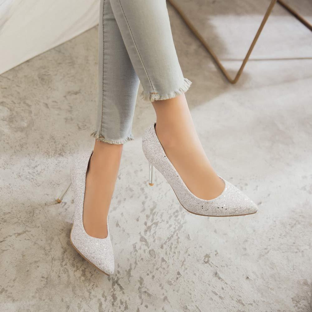 HLG Zapatos cerrados de tacón alto de tacón alto alto alto con lentejuelas de las mujeres puntiagudas poco profundas tacón de aguja zapatos de boda,Blanco,43EU 1152fe