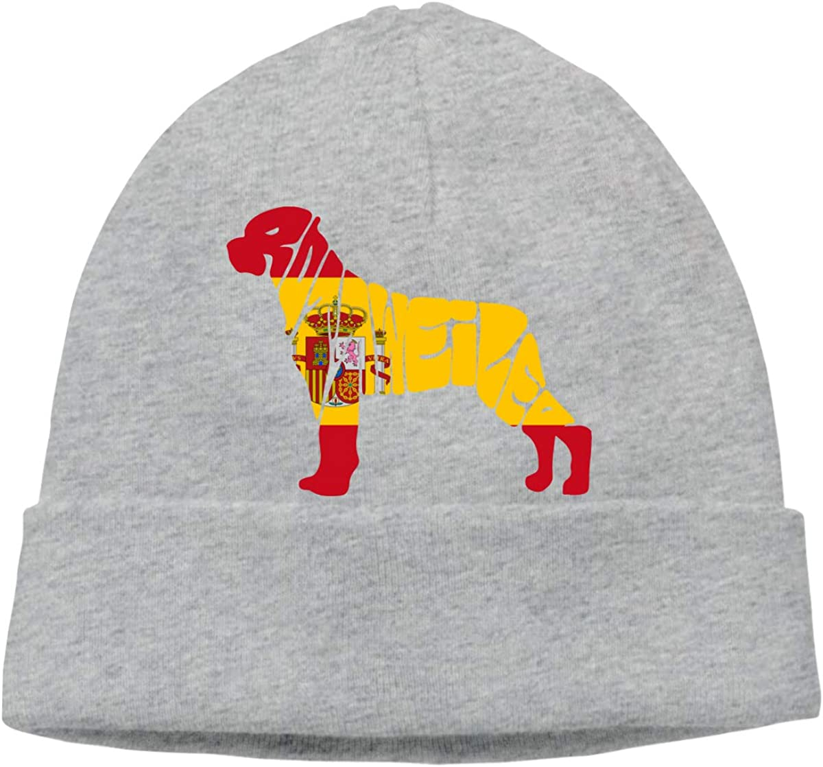 BF5Y3z/&MA Spain Flag Rottweiler Dog Beanie Hat for Men Women,Daily Knitting Hat Ski Cap