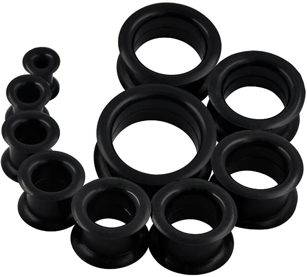 Oyaface 20 PC Tunnel Set Soft/Hard Silicone Flesh Tunnel Plug Eyelet 2g-25mm Flexible Ear Stretching Gauge Expander
