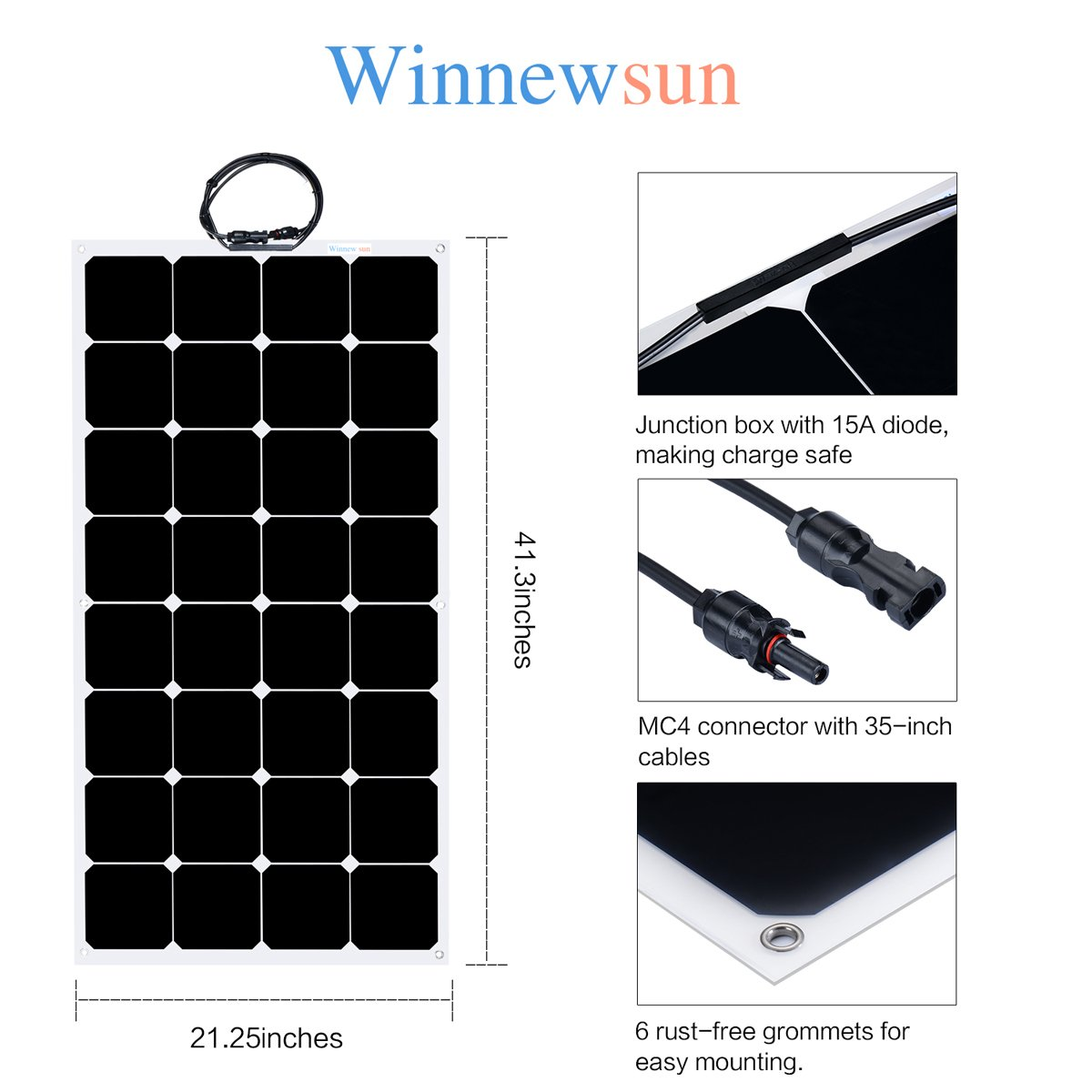 Flexible Solar Panel ,SunPower Solar Panel 100w 18V 12V ,Lightweight Flexible Solar Power Panels for RV Boat Truck Car Van Tent by Winnewsun (Image #2)
