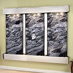 Adagio Deep Creek Falls Wall Fountain Black Spider Marble Stainless Steel - DCFS2007
