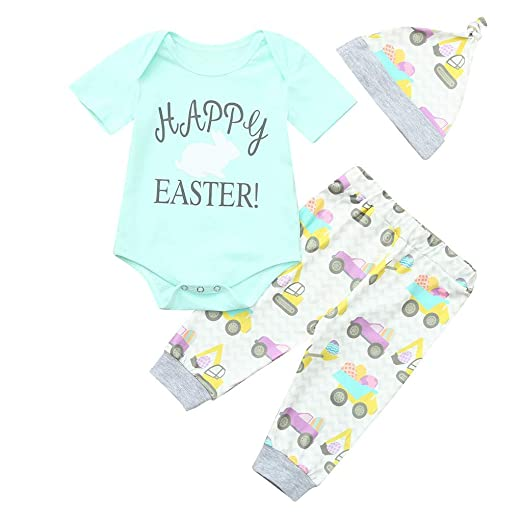 Amazon.com  🐰 4 3Pcs Baby Girl Easter Outfits Sets Daddy s Other Chick  Easter Egg Easter Chick Print Romper Pants Hat Headband 0-24M  Clothing bdb3ef254b3c