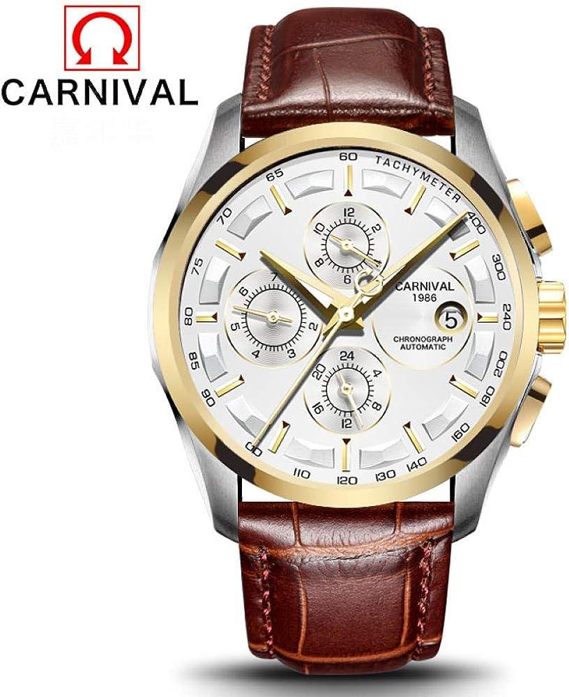 AIZHIJIA Les Montres des Hommes Imperméabilisent Les Montres Bracelet Mécaniques Automatiques en Acier De Sport Occasionnel Leather Gold White