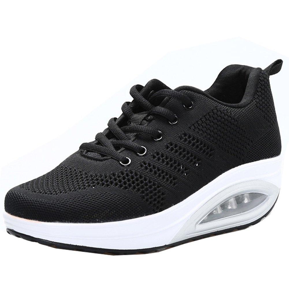 JARLIF Women's Comfortable Platform Walking Sneakers Lightweight Casual Tennis Air Fitness Shoes US5.5-10 B073QLHL1D 5.5 B(M) Women / 5 D(M) Men / EU 36|All Black