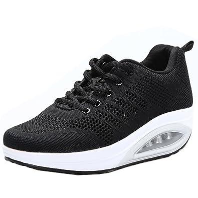 5de6b95cba JARLIF Women's Comfortable Platform Walking Sneakers Lightweight Casual  Tennis Air Fitness Shoes All Black US6.