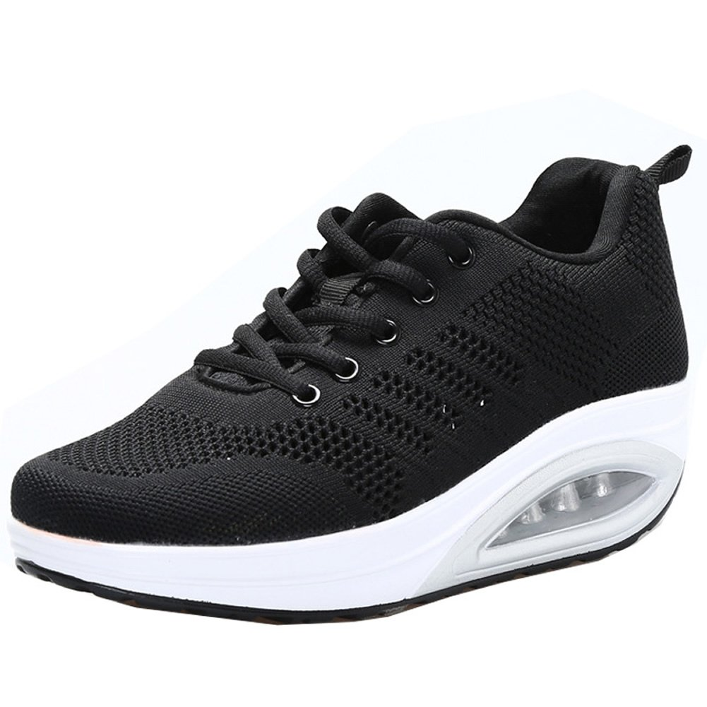 JARLIF Women's Comfortable Platform Walking Sneakers Lightweight Casual Tennis Air Fitness Shoes All Black US9.5