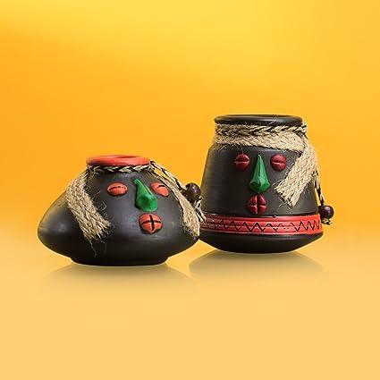 ExclusiveLane Tribal Rustic Pot Faces Home Decorative Terracotta Flower Pots (18.2 cm x 18.2 cm x 9.1 cm, Rustic Stone Black, Set of 2)