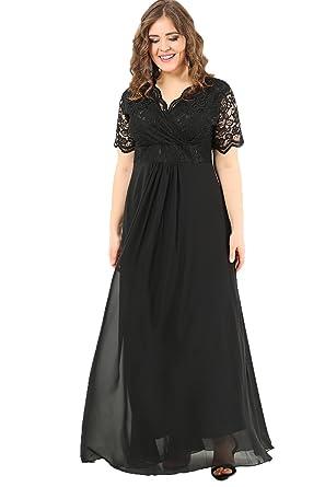 efb4200a895a5 Angelino Butik Büyük Beden Üstü Güpür Şifon Likralı Abiye Siyah Elbise  DD793 (40-42