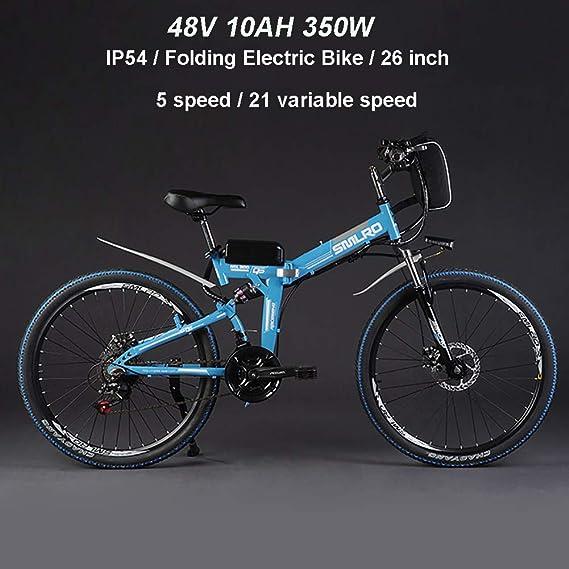 Hyuhome Ebikes para Adultos, Bicicleta Plegable eléctrica MTB Dirtbike, 26