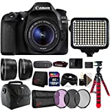Canon EOS 80D 24.2MP DSLR Camera + 18-55mm + 58mm Filter Kit + Telephoto & Wide Angle Lens + 32GB Memory Card + Wallet + Reader + Led Video Light + Case + Flexible Tripod + 3pc Cleaning Kit