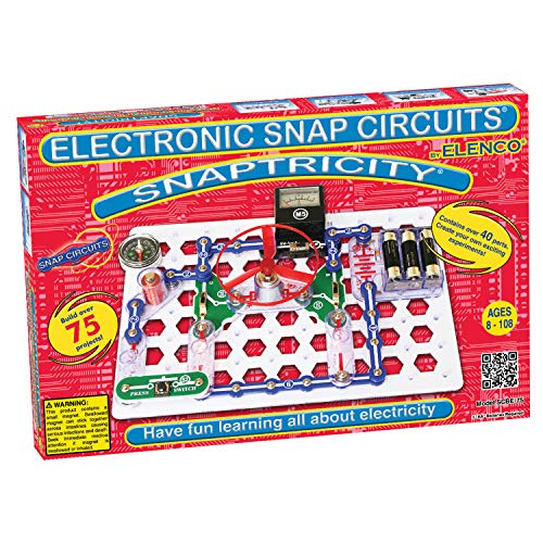 Electricity Kit - Snap Circuits Snaptricity Electronics Exploration Kit | Over 75 STEM Projects | 4-Color Project Manual | 40 Snap Modules | Unlimited Fun