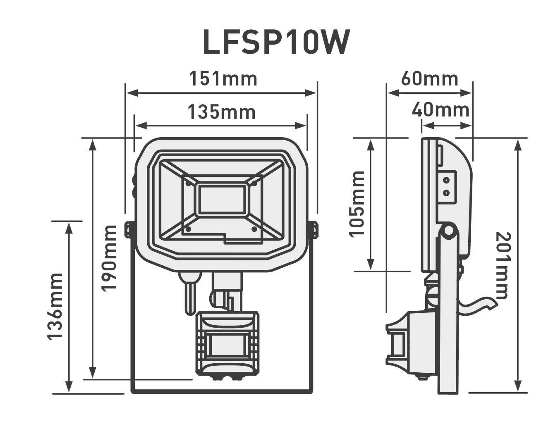 Luceco LED PIR - Foco de exterior con detector de movimiento, 10 W, 600 lm, 3000 K lfsp10 W1b30 - 01: Amazon.es: Iluminación