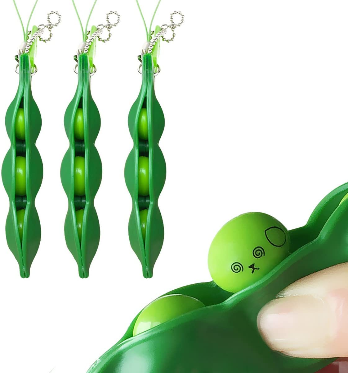 Acerich 3 Pack Edamame Keychain Fidget Toys - Squeeze-a-Bean Puchi Puti Mugen Keyring Pea Keychain Soybean Toys Gift