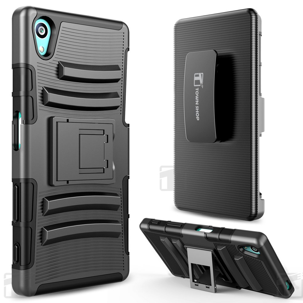 cheap for discount 35654 a58d8 Galleon - Sony Xperia Z5 Compact Case, TownShop Black Rugged Impact ...