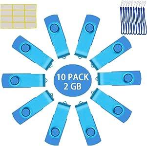 Memoria USB 2 GB USB 2.0 Pendrives 10 Piezas Giratoria U Disco Color Celeste Memoria Flash Drive 2 GB Almacenamiento de Datos Externo con Cordones by Uflatek: Amazon.es: Electrónica