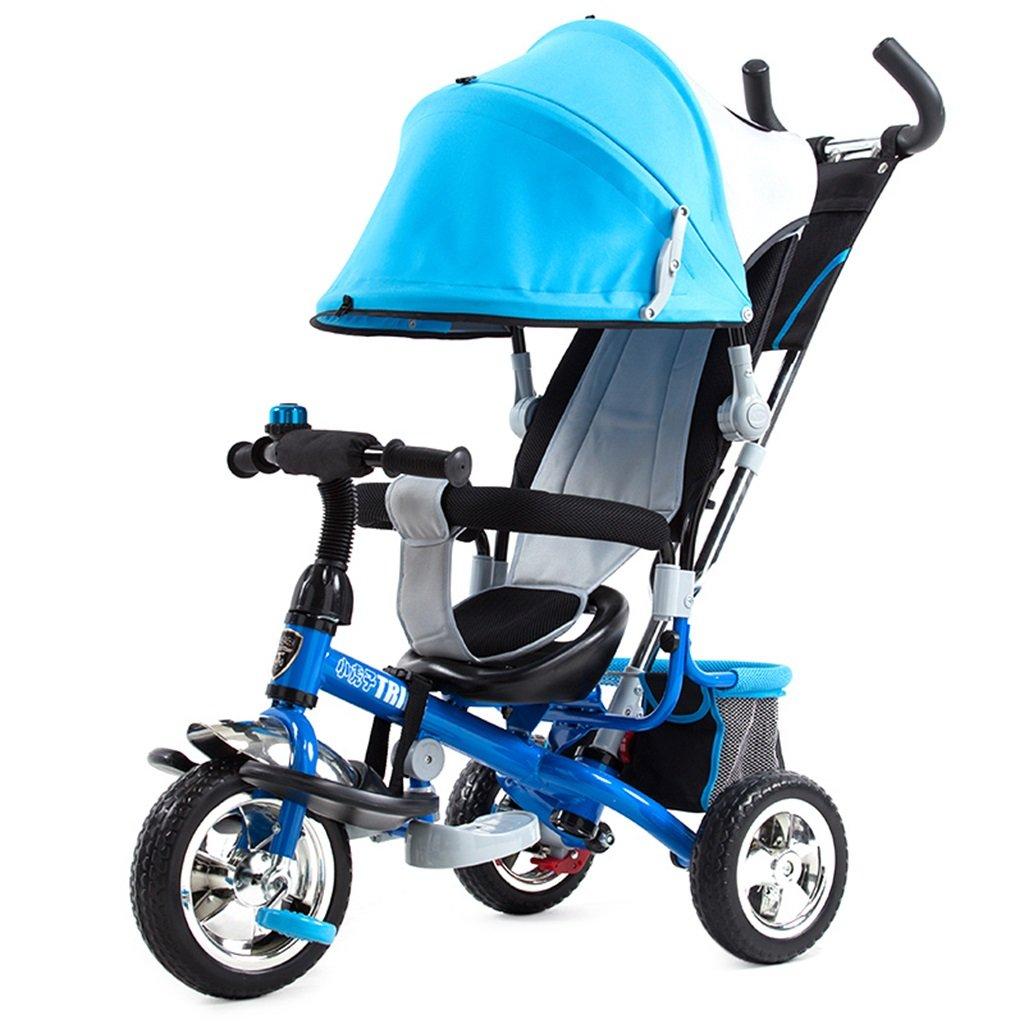 KANGR-子ども用自転車 子供用三輪車カートベビーキャリッジ子供用自転車3輪、青 B07BTW51SG