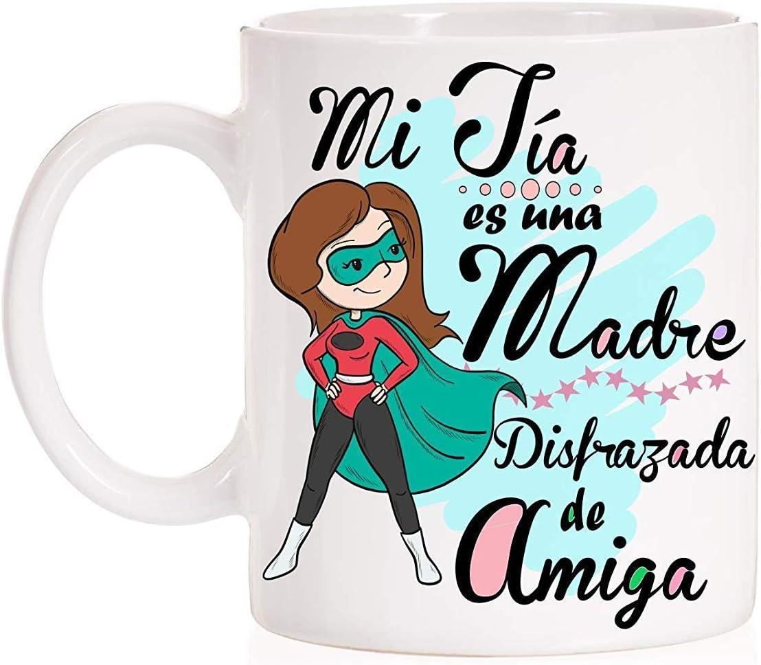 Taza Mi Tía es una Madre disfrazada de Amiga. Taza de Regalo para Las titas con Mucho Amor.