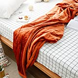 Znzbzt Coral velvet sofa covers and flannel blankets 2 small blankets single simple solid color blanket thick ,22.3 meters (1.8kg), too princess terra cotta Brown