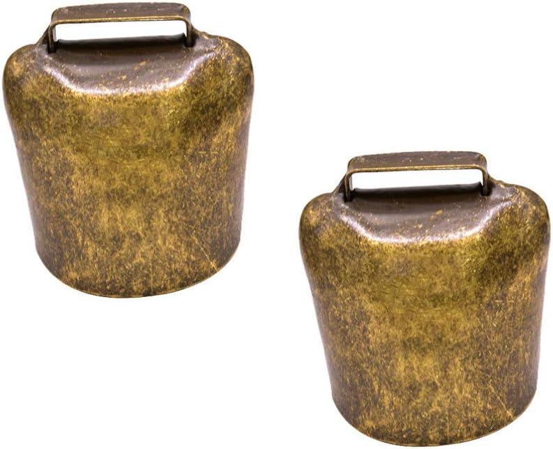 HEALLILY 2 Pcs Vache Cheval Mouton P/âturage Cloches de Fer Longue Distance B/étail Ferme Animal Fort Cloche Bronze Agriculture Accessoires Bronze 26G