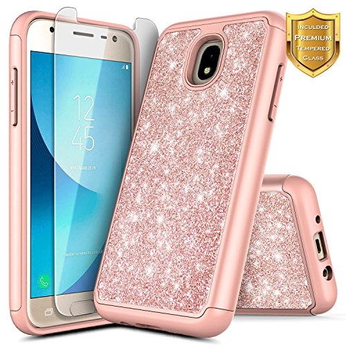 Stars Case Design Protector (NageBee Glitter Case Compatible with Samsung Galaxy J3 Star/ J3V 3rd Gen/Express Prime 3/ J3 2018 (J337)/ J3 Achieve/Amp Prime 3 w/[Tempered Glass Screen Protector] Shiny Bling Cute Case -Rose Gold)