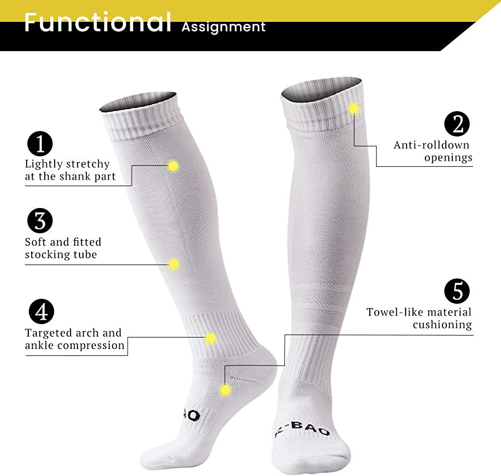 TERODACO Mens 2 Pcs Athletic Compression Football Soccer Socks Over Knee High