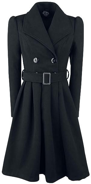 H&R London Abrigo Vintage Negro Abrigo Mujer Negro M