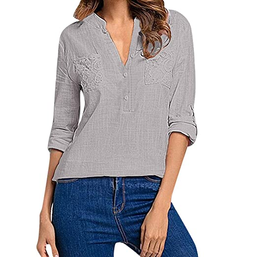e5fae48acaad30 OCEAN-STORE Women s Solid Pocket Long Sleeve V-Neck Casual Shirts  Sweatshirts for Women Plus Size Tops Blouse T-Shirts Blue at Amazon Women s  Clothing store ...