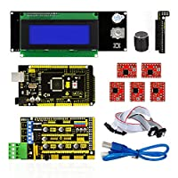 keyestudio 3D Printer Cnc Kit for Arduino RAMPS 1.4 + Mega 2560 + 5x A4988 + 20x4 LCD Controller with Adapter Compatible for Arduino and RepRap by keyes