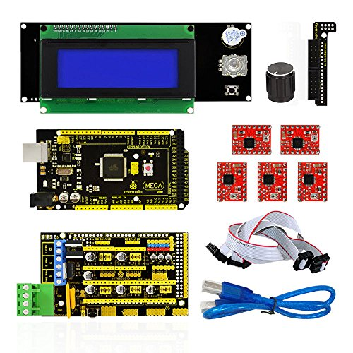 keyestudio 3D Printer Cnc Kit for Arduino RAMPS 1.4 + Mega 2560 + 5x A4988 + 20x4 LCD Controller with Adapter Compatible for Arduino and RepRap
