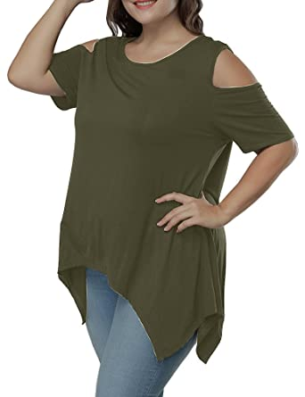 e741494ade41a Allegrace Women Plus Size Swing Flowy Cold Shoulder Casual Long Top Summer  T Shirt Army Green