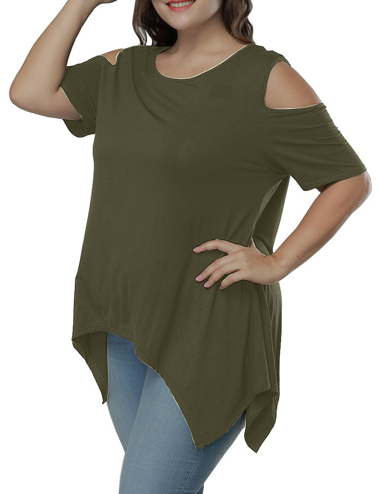 Allegrace Women Plus Size Swing Flowy Cold Shoulder Casual Long Top Summer T Shirt Army Green 2X