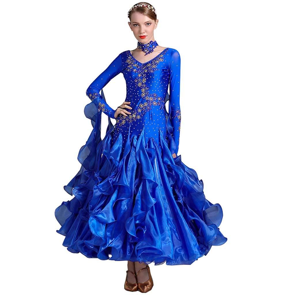 女性Vネックモダンダンススカートドレスダンス服バレエラテンダンス服 B07HRRPBMJ XXL|Royal Blue Royal Blue XXL