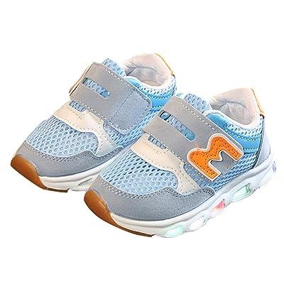 ADESHOP Baby Neutre Maille GarçOns Et Filles Impression de Lettre LumièRes LED Chaussures Lumineuses Chaussures DéContractéEs Chaussures de Sport Chaussures LéGèRes Soft Chaussures