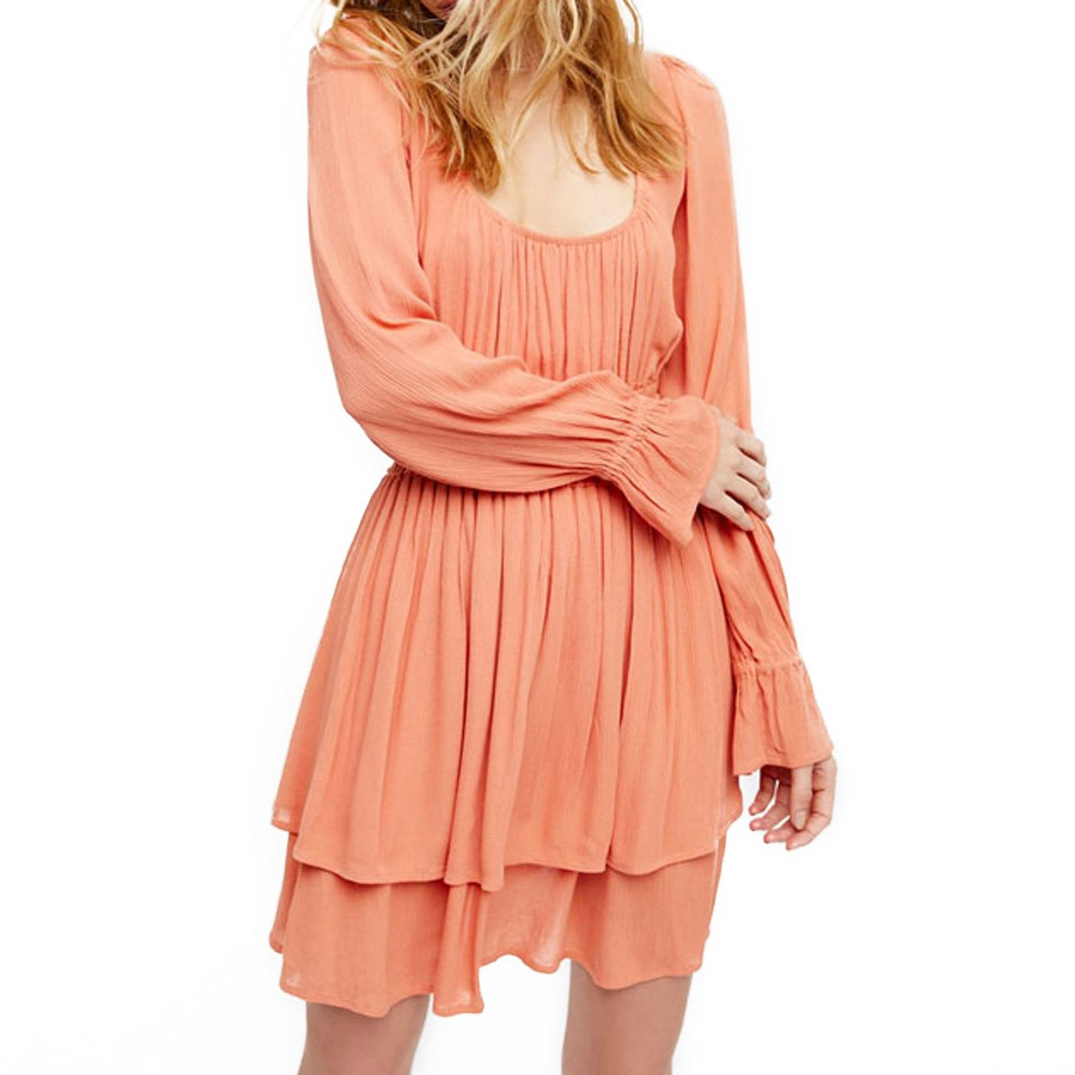 BellFlower Long Sleeve Bohemian Solid Backless Sexy Boho O Neck Mini Dress Female (L, Pink)