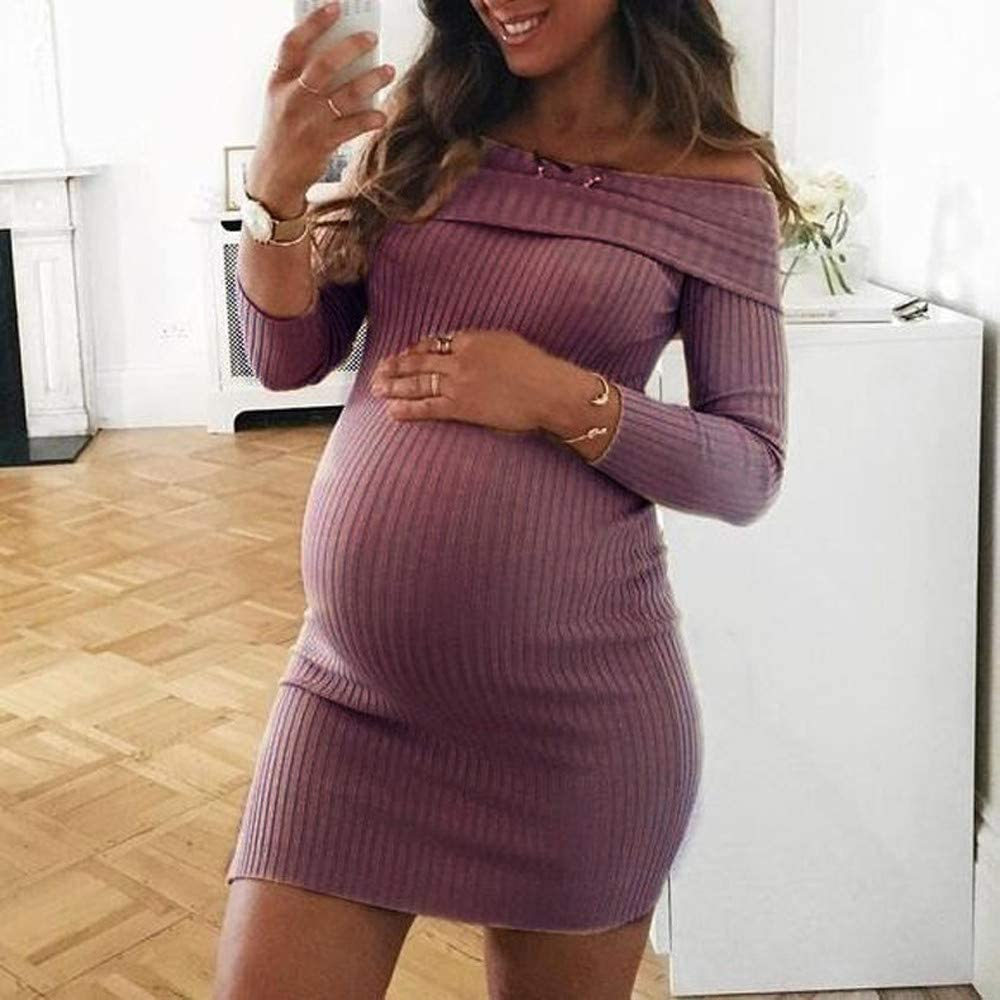 Vorname Ladies Pregnant Short Dresses Maternity Photography Clothes Maxi Women Clothing Dress Fashion Casual Pregnant Long Sleeves Off Shoulder Nursing Maternity Dress for Mom Special Occasions