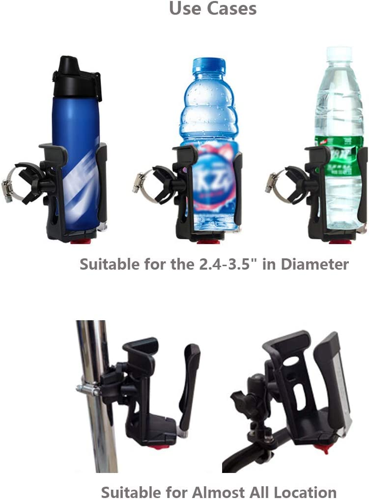 WINDFRD Drink Holder with Double Socket Arm Base for Motorcycles,ATV,Big Rigs,etc 360 Degree Adjustable