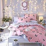 KFZ Bed SET Bedding Duvet Cover Flat Sheet Pillowcases 4pcs/set No comforter KY Twin Full Queen Noble Deers Mask Bulldog Glorious Design Kids Adults Sheets Set (Bulldog,Pink, Twin, 59''x78'')