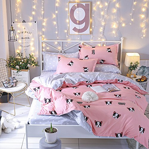 "New KFZ Bed SET Bedding Duvet Cover Set Flat Sheet Pillowcases 4pcs/set No comforter Microfiber KY Queen Size Noble Deers Mask Bulldog Design for Children Sheet SETS (Bulldog,Pink, Queen, 78""x91"")"