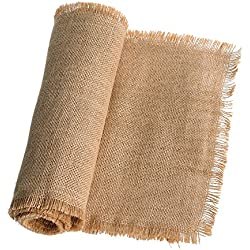 Ling's moment Fringe Jute Burlap Table Runner 14 x 108 Inches for Rustic Country Wedding Party Farmhouse Table Decorations