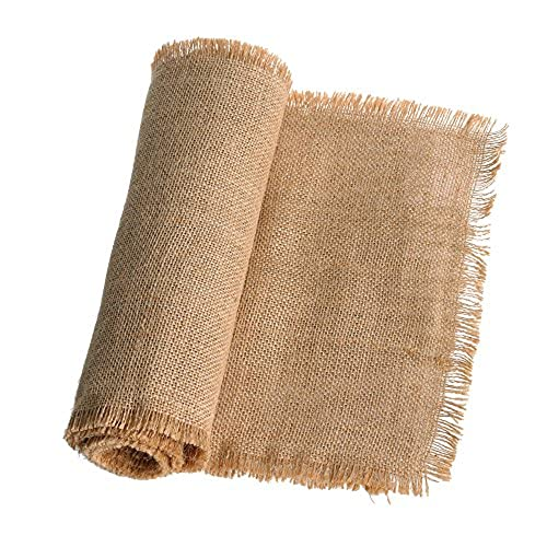 X108 Inches Jute Burlap Table Runner Fringe Edges For Rustic Country Wedding Party Farmhouse Setting Decorations Woodland Bridal Baby Shower Decor