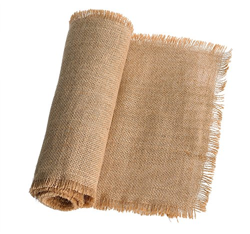 Ling's moment 12 x 108 Inches Fringe Jute Burlap Table Runner for Rustic Country Wedding Party Farmhouse Table Setting Decorations Woodland Bridal Baby Shower Decor