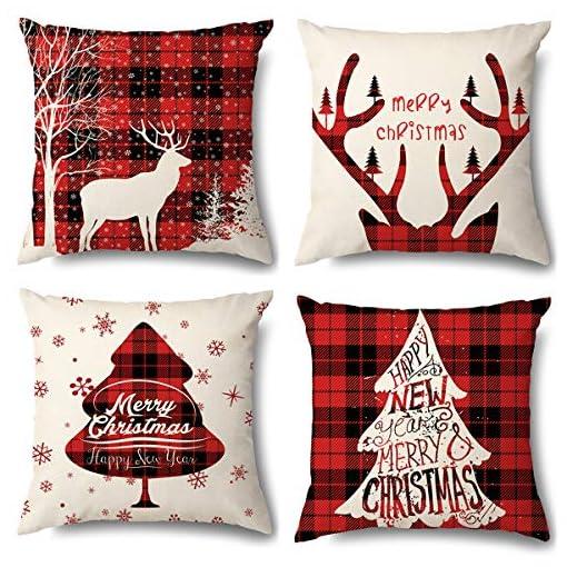 Christmas Farmhouse Home Decor Christmas Pillow Covers-18×18 Inch Throw Pillow Cover Red Plaid Pillow Case for Couch Farmhouse Home Decor Set of 4… farmhouse christmas pillow covers