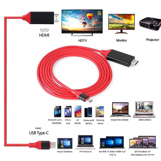 Cable Adaptador, USB 3.1 Tipo C a HDMI, 1080P HD, Accesorios de ...
