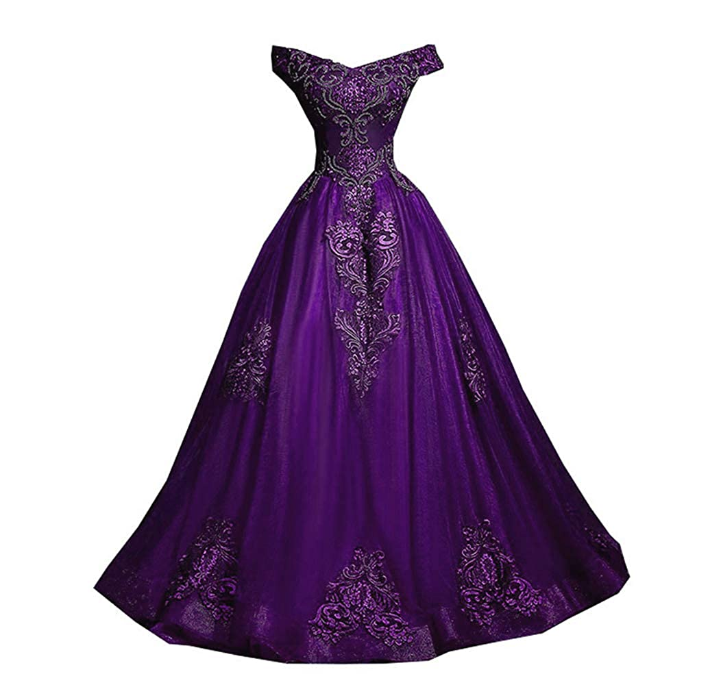 Purple FTBY Off Shoulder Prom Dress Appliques lace Ball Gowns Quinceanera Dresses Tulle Sweet 16