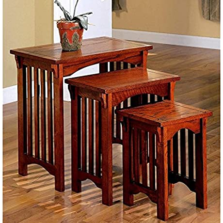 A Line Furniture Dolson 3 Piece Wooden Mission Style Nesting Table Set