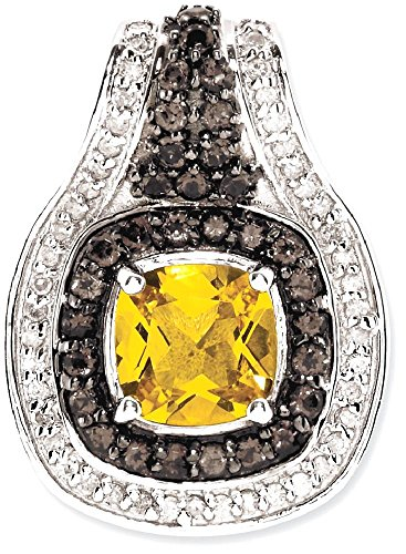 Cut Smoky Quartz Citrine Pendant (ICE CARATS 925 Sterling Silver Yellow Citrine Smoky Quartz Diamond Pendant Charm Necklace Gemstone Fine Jewelry Gift Set For Women Heart)
