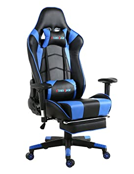 Storm Racer ergonómico Gaming Chair Silla de Respaldo Alto Silla de Oficina con reposapiés Ajuste reposacabezas y Apoyo Lumbar Silla de Racing (Azul-s): ...
