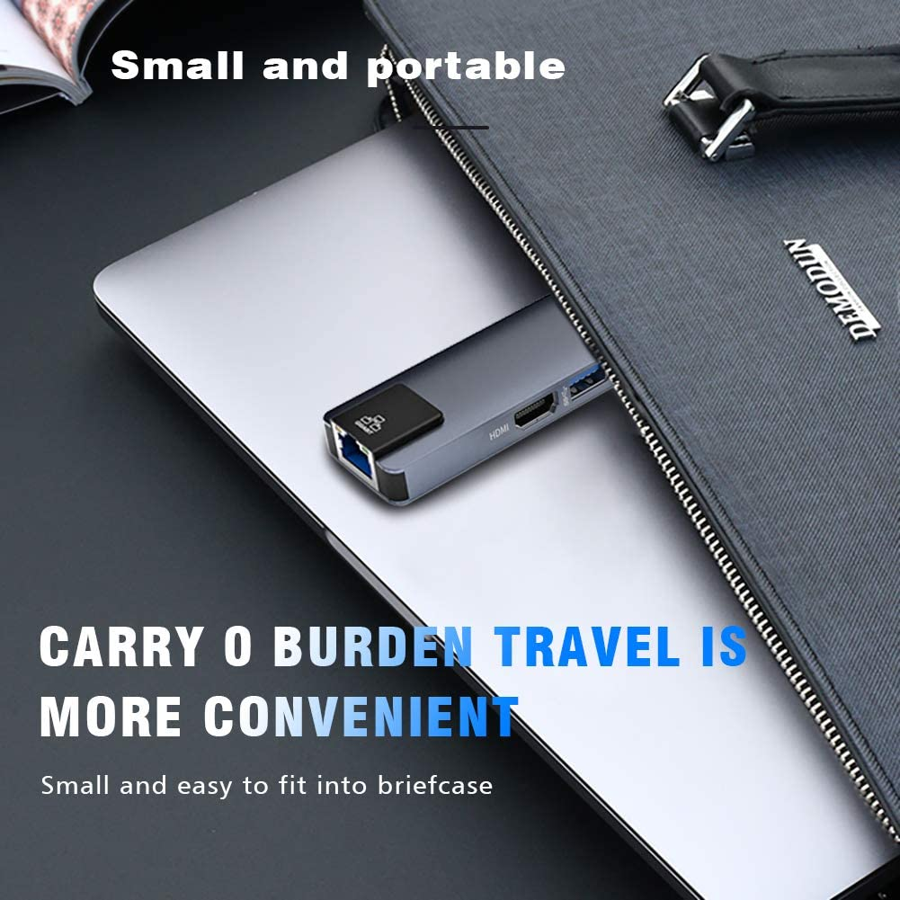 5 in 1 USB Type-C PD HUB Aluminum Adapter with 3 USB3.0 Ports RJ45 Gigabit Ethernet USB3.0 Hubs for Mackbook Type-C Devices USB C Power Delivery