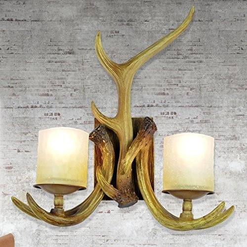 EFFORTINC Rustic Deer Horn Antler Wall Sconce 2 Light Fixtures - Antler Wall Sconce